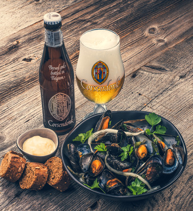 Mussels steamed in Corsendonk Agnus